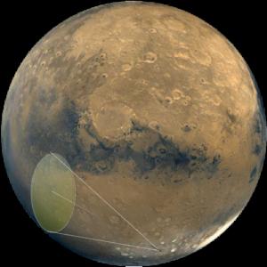 Marte con rayo solar para aumentar la temperatura
